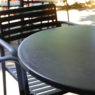 black table metal of outdoor garden in the morning